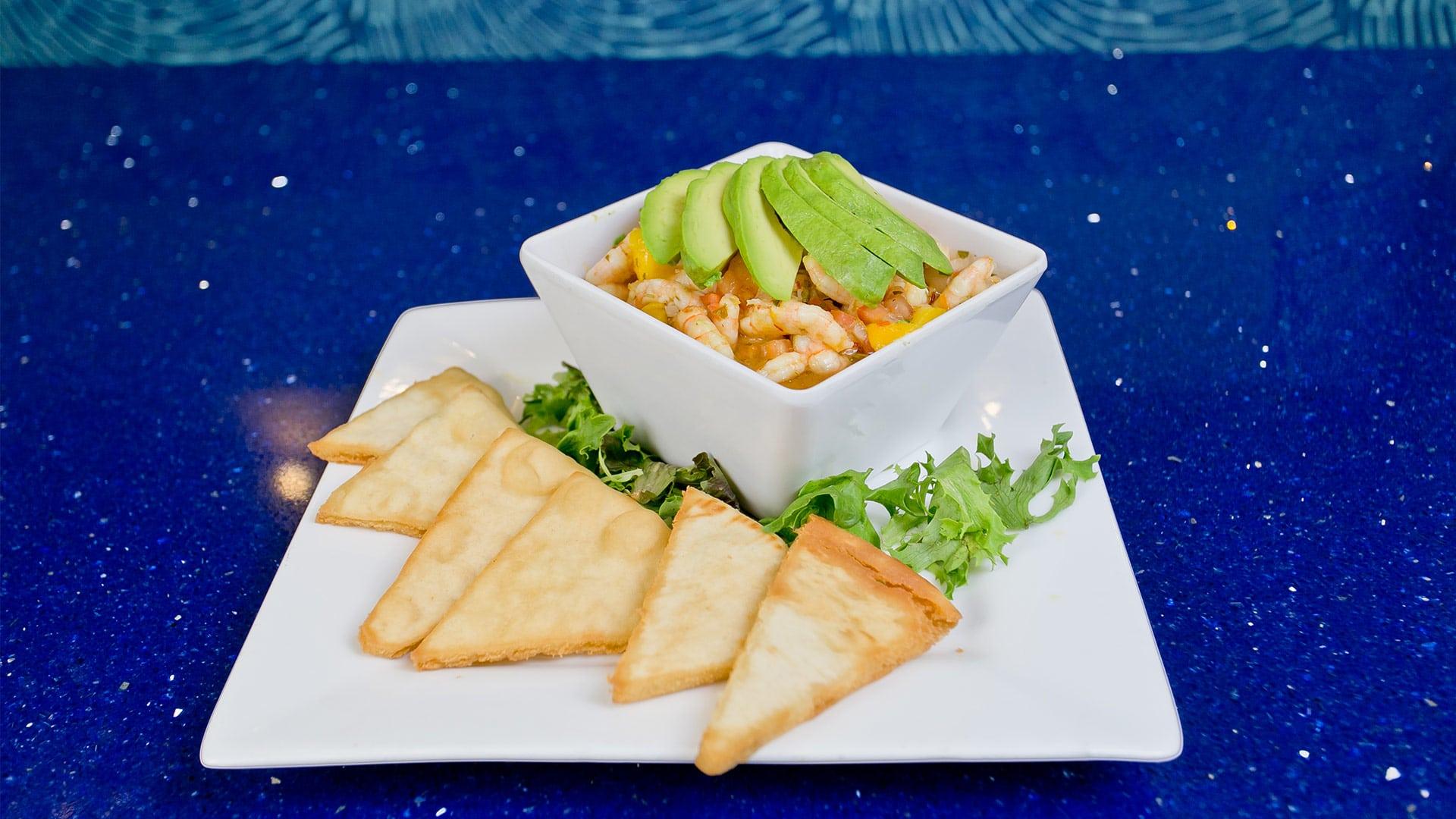 Shrimp, Mango and Avocado Ceviche Heirloom Tomato Caprese | H2O Grill and Bonsai Sushi Bar | Pensacola Beach FL