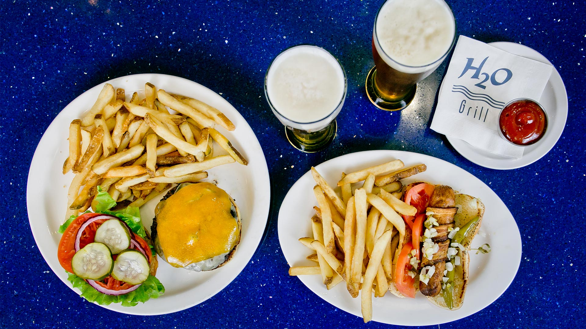 Bacon Wrapped Chicago Style Hot Dog + Build Your Own Burger | H2O Grill and Bonsai Sushi Bar | Pensacola Beach FL
