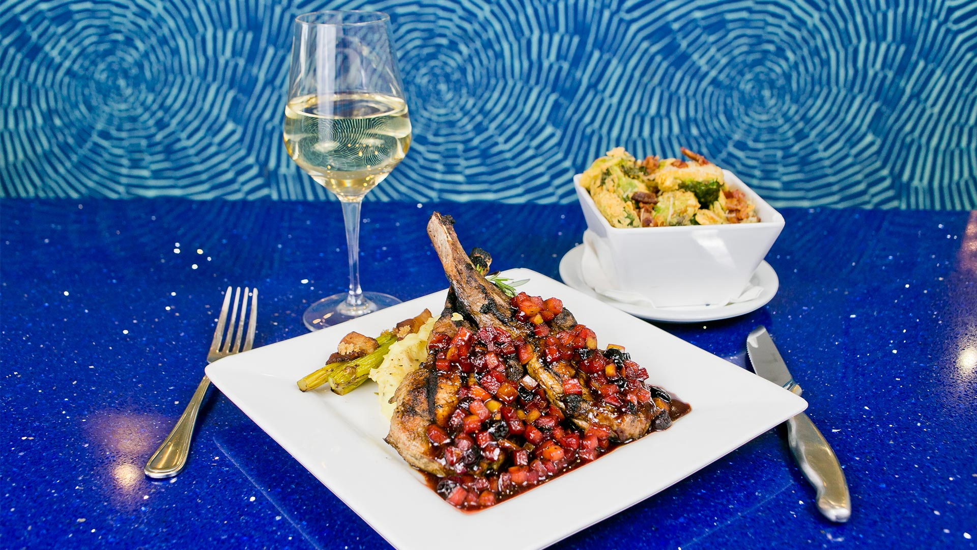 Panéed Pork Chops + Fried Brussels Sprouts   H2O Grill and Bonsai Sushi Bar   Pensacola Beach FL